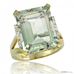 10k Yellow Gold Diamond Green-Amethyst Ring 12 ct Emerald Cut 16x12 stone 3/4 in wide