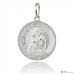 Sterling Silver Saint Joseph & Baby Jesus Round Medal Made in Italy, 3/4 in