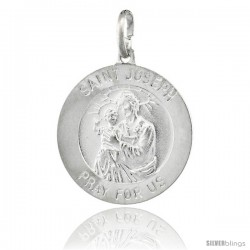 Sterling Silver Saint Joseph Medal Made in Italy, Medal, 7/8 in Round -Style Ip222