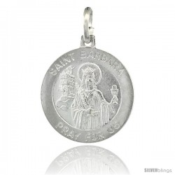 Sterling Silver Saint Barbara Medal Made in Italy, Medal 3/4 in Round