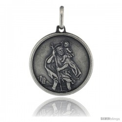 Sterling Silver Saint Christopher Round Medal Made in Italy, 3/4 in tall