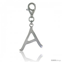 Sterling Silver Block Initial Letter A Alphabet Charm with Lobster Lock Clasp, 7/8 in
