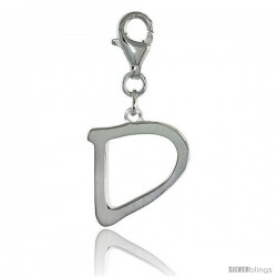 Sterling Silver Block Initial Letter D Alphabet Charm with Lobster Lock Clasp, 7/8 in