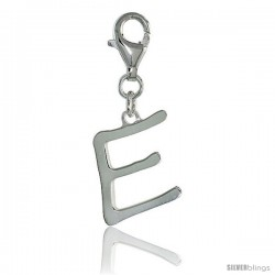 Sterling Silver Block Initial Letter E Alphabet Charm with Lobster Lock Clasp, 7/8 in
