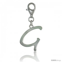 Sterling Silver Block Initial Letter G Alphabet Charm with Lobster Lock Clasp, 7/8 in