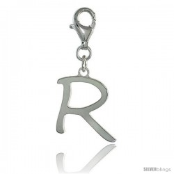 Sterling Silver Block Initial Letter R Alphabet Charm with Lobster Lock Clasp, 7/8 in