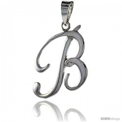 Sterling Silver Script Initial Letter B Alphabet Pendant Flawless Polish, 1 1/2 in long