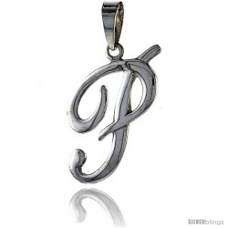 Sterling Silver Script Initial Letter P Alphabet Pendant Flawless Polish, 1 1/2 in long