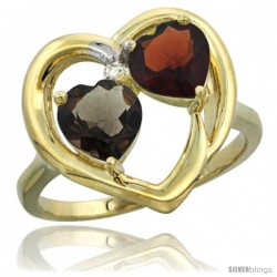 14k Yellow Gold 2-Stone Heart Ring 6mm Natural Smoky Topaz & Garnet Diamond Accent