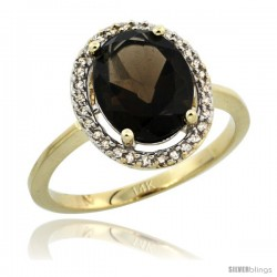 14k Yellow Gold Diamond Halo Smoky Topaz Ring 2.4 carat Oval shape 10X8 mm, 1/2 in (12.5mm) wide