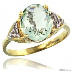 10k Yellow Gold Diamond Green Amethyst Ring 2.40 ct Oval 10x8 Stone 3/8 in wide
