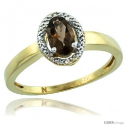 14k Yellow Gold Diamond Halo Smoky Topaz Ring 0.75 Carat Oval Shape 6X4 mm, 3/8 in (9mm) wide