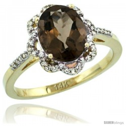 14k Yellow Gold Diamond Halo Smoky Topaz Ring 1.65 Carat Oval Shape 9X7 mm, 7/16 in (11mm) wide