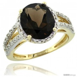 14k Yellow Gold Diamond Halo Smoky Topaz Ring 2.85 Carat Oval Shape 11X9 mm, 7/16 in (11mm) wide