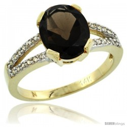 14k Yellow Gold and Diamond Halo Smoky Topaz Ring 2.4 carat Oval shape 10X8 mm, 3/8 in (10mm) wide
