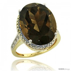 14k Yellow Gold Diamond Smoky Topaz Ring 13.56 Carat Oval Shape 18x13 mm, 3/4 in (20mm) wide