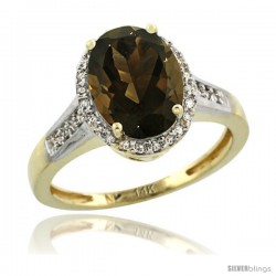 14k Yellow Gold Diamond Smoky Topaz Ring 2.4 ct Oval Stone 10x8 mm, 1/2 in wide