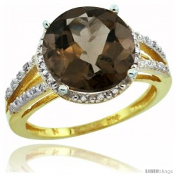 14k Yellow Gold Diamond Smoky Topaz Ring 5.25 ct Round Shape 11 mm, 1/2 in wide