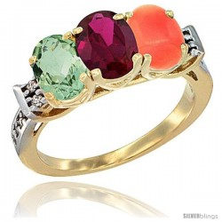 10K Yellow Gold Natural Green Amethyst, Ruby & Coral Ring 3-Stone Oval 7x5 mm Diamond Accent