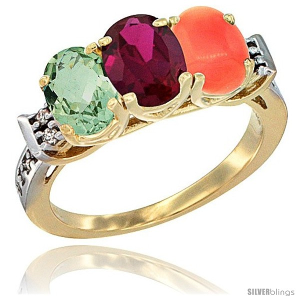 https://www.silverblings.com/3617-thickbox_default/10k-yellow-gold-natural-green-amethyst-ruby-coral-ring-3-stone-oval-7x5-mm-diamond-accent.jpg