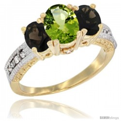14k Yellow Gold Ladies Oval Natural Peridot 3-Stone Ring with Smoky Topaz Sides Diamond Accent