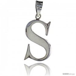 Sterling Silver Script Initial Letter S Alphabet Pendant Flawless Polish, 1 1/2 in long