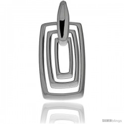 "Sterling Silver Triple Rectangle Cut Outs Pendant, 1 5/8"" (42 mm) tall"