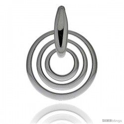 "Sterling Silver Triple Circle Cut Outs Pendant, 1 3/8"" (35 mm) tall"