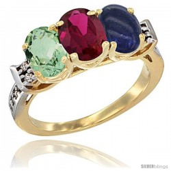 10K Yellow Gold Natural Green Amethyst, Ruby & Lapis Ring 3-Stone Oval 7x5 mm Diamond Accent