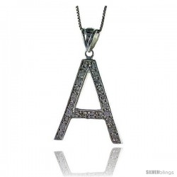 Sterling Silver Cubic Zirconia Block Initial Letter A Alphabet Pendant, 1 5/8 in