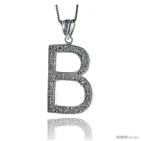 Sterling Silver Cubic Zirconia Block Initial Letter B Alphabet Pendant, 1  5/8 in