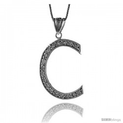 Sterling Silver Cubic Zirconia Block Initial Letter C Alphabet Pendant, 1 5/8 in