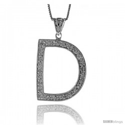 Sterling Silver Cubic Zirconia Block Initial Letter D Alphabet Pendant, 1 5/8 in