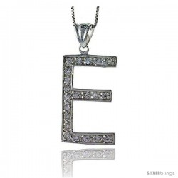 Sterling Silver Cubic Zirconia Block Initial Letter E Alphabet Pendant, 1 5/8 in