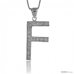 Sterling Silver Cubic Zirconia Block Initial Letter F Alphabet Pendant, 1 5/8 in