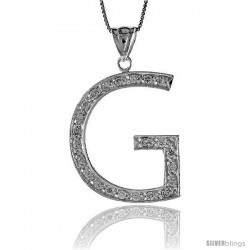 Sterling Silver Cubic Zirconia Block Initial Letter G Alphabet Pendant, 1 5/8 in