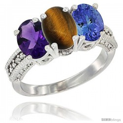 14K White Gold Natural Amethyst, Tiger Eye & Tanzanite Ring 3-Stone 7x5 mm Oval Diamond Accent