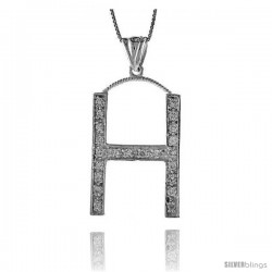 Sterling Silver Cubic Zirconia Block Initial Letter H Alphabet Pendant, 1 5/8 in