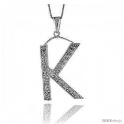 Sterling Silver Cubic Zirconia Block Initial Letter K Alphabet Pendant, 1 5/8 in