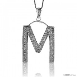 Sterling Silver Cubic Zirconia Block Initial Letter M Alphabet Pendant, 1 5/8 in
