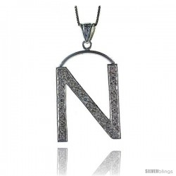 Sterling Silver Cubic Zirconia Block Initial Letter N Alphabet Pendant, 1 5/8 in