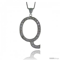 Sterling Silver Cubic Zirconia Block Initial Letter Q Alphabet Pendant, 1 5/8 in