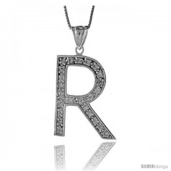 Sterling Silver Cubic Zirconia Block Initial Letter R Alphabet Pendant, 1 5/8 in