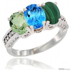 14K White Gold Natural Green Amethyst, Swiss Blue Topaz & Malachite Ring 3-Stone 7x5 mm Oval Diamond Accent