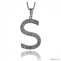 Sterling Silver Cubic Zirconia Block Initial Letter S Alphabet Pendant, 1 5/8 in