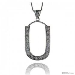 Sterling Silver Cubic Zirconia Block Initial Letter U Alphabet Pendant, 1 5/8 in