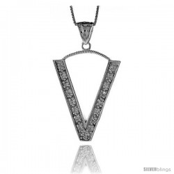Sterling Silver Cubic Zirconia Block Initial Letter V Alphabet Pendant, 1 5/8 in
