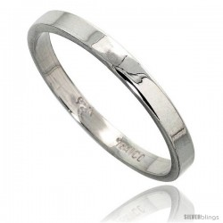 Sterling Silver 3 mm Flat Wedding Band Thumb Ring