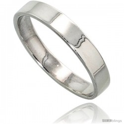 Sterling Silver 4 mm Flat Wedding Band Thumb Ring