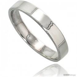 Sterling Silver 4 mm Flat Wedding Band Thumb Ring